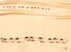 Camels Train In Desert
