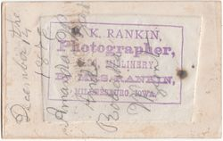 E. K. Rankin, photographer, Millersburg, IA - back