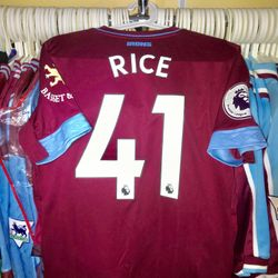 Declan Rice worn and signed poppy shirt.