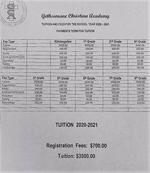 Tuition and Registration Letter