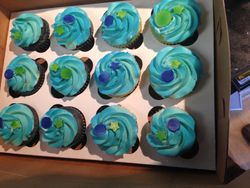 Blue Cupcakes with Stars and Dots
