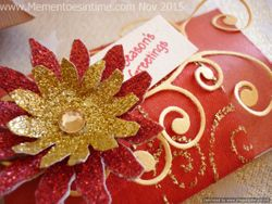 Frayed Pillow Box Red and Gold