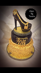 Gold and black sequins cake