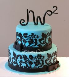 Tiffany and black damask  anniversary cake