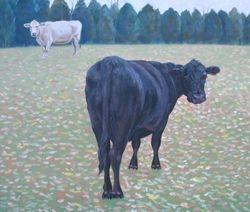 "Two Cows, Ash Lawn, oil/panel, 13 3/4 x 16 1/4"""