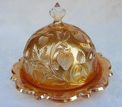 Inverted Strawberry covered butter dish, marigold, Cambridge