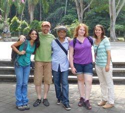 Silvana Sita, JB Leca, I Nyoman Buana (Manager of the Ubud Monkey Forest), Amélie Kluzinski, and Elenora Neugebauer visiting the Sangeh Monkey Forest (Bali, June 2016)