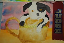 Pup in a cup- Watercolor