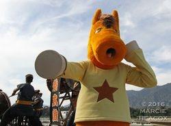 """Mascot does the """"Sprinkler"""""""