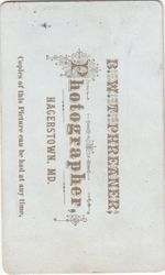 B. W. T. Phreaner, photographer of Hagerstown, MD - back