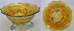 Horse Medallion ftd nut bowl, smoke with marigold overlay