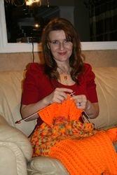 Knitting Bright-Orange Sweater