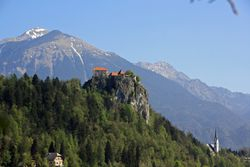Bled Castle from Bled Island, Slovenia