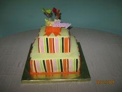 CAKE 3A2- Stripes & A Bow Cake