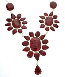 Mixed Cut Ruby and Sterling Silver Necklace