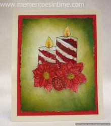 Candle with Poinsettia Card