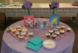 Baby shower cake and matching cupcakes
