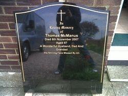 Black granite ogge top memorial