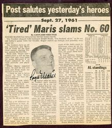 Roger Maris New York Yankees Signed 60th Home Run Newspaper Cut AUTO JSA LOA COA