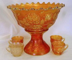 Wreath of Roses punch bowl and cups, marigold