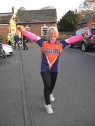 Lisa after winning the 17miles Crewe Hilly