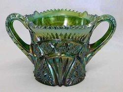 Forks cracker jar (lid missing) green, by Cambridge