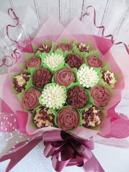 Dusky pink and burgundy 19 cupcake bouquet