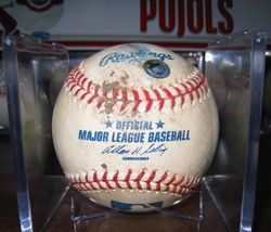 2006 GAME-USED BASEBALL Game: A. PUJOLS TIED RECORD FOR HRS IN CONSECUTIVE AT BATS