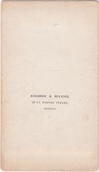 Kingman & Wilkins, photographers  of Boston, MA - back