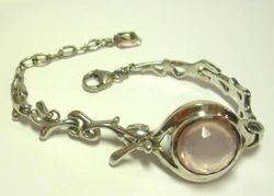 09-00130d Rose Quartz Faceted Sterling Link Bracelet