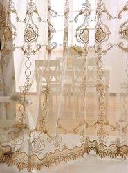 Damask Sheer Curtain Rod Pocket Curtains