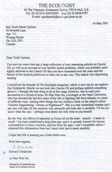 British Letter: Ecologist.