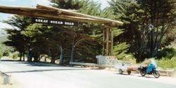 Tom's K75RT & Camper Trailer on the Great Ocean Road - Dec 1994