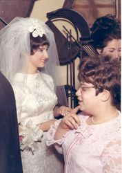 Abigail & Aimee in receiving line at wedding 3-29-69::)