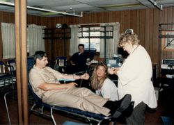 C.O. gives blood on blood drive