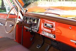 interior in hugger orange and saddle