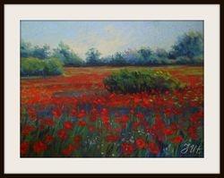 Poppy  landscape. Diptych -  part2.