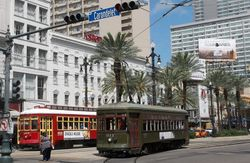 Replica and Vintage Streetcars on Canal Street.