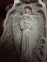 Guardian angel - elk antler slice - detail