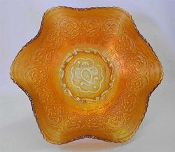 "Persian Medallion 10""ruffled bowl, marigold"