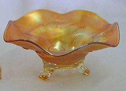 Fine Cut and Roses candy dish, marigold