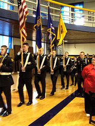 James Rettig with the ROTC color guard