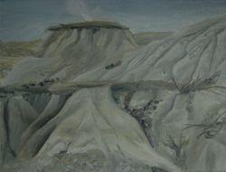 """Badlands near Bow Island, AB ( 9 by 12"""" oil on canvas)"""