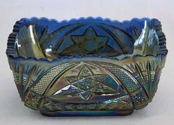 "Curved Star 4 1/4"" square bowl, blue :Brockwitz, Germany"