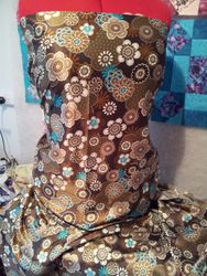 637# Brown Teal and cream Stretch Satin