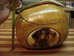 Black Lab & antler carved gourd