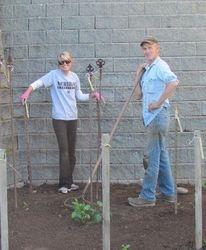 Walt & Nat planting her Dahlia Garden