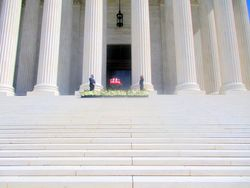 Casket Guarded by Clerks at West Façade of US Supreme Court Building from West During Lying in Repose of Associate Supreme Court Justice Ruth Bader Ginsburg