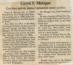 Metzgar, Cloyd S. 1998