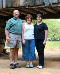 Keith, Roz and Judy under snake infested barn